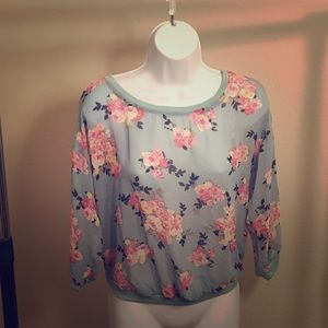 Sheer pullover floral  blouse